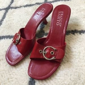 Franco Sarto red buckle heeled sandals